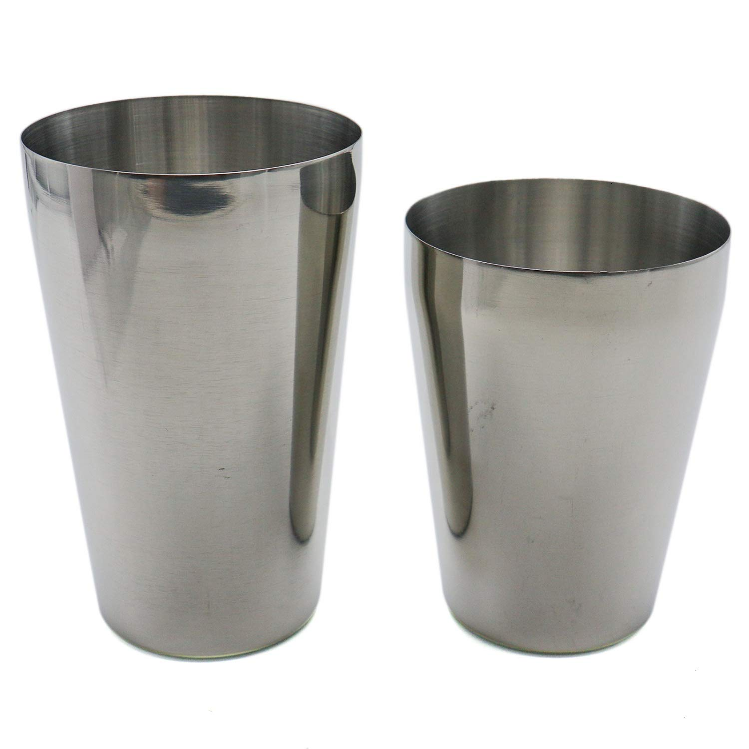 HUELE Set of 2 Stainless Steel Boston Cocktail Shaker Professional Bartender Shaker 20oz & 16oz Silver