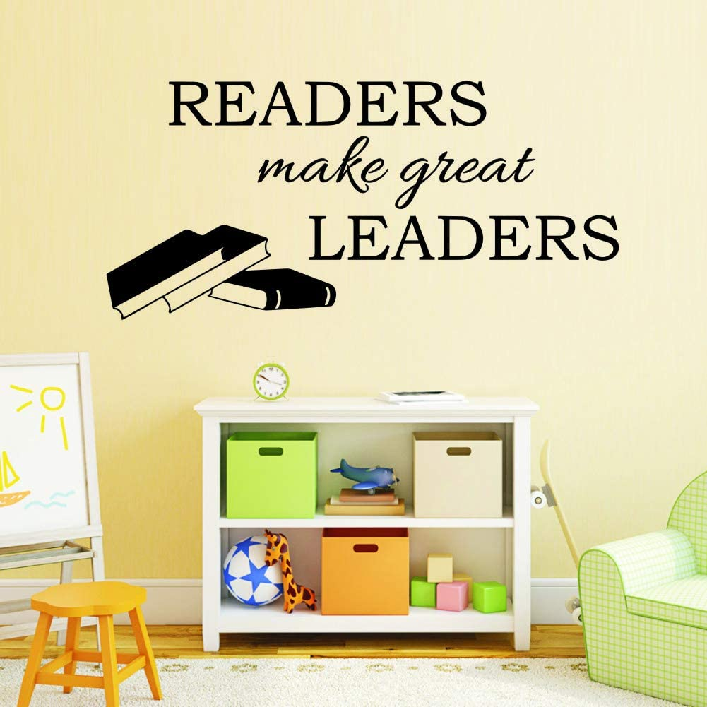 Readers Make Great Leaders Inspirational Wall Decal,Vinyl Motivational Classroom Quote Door Decorations Teacher Reading Book Corner Art Library Wall Art Decor