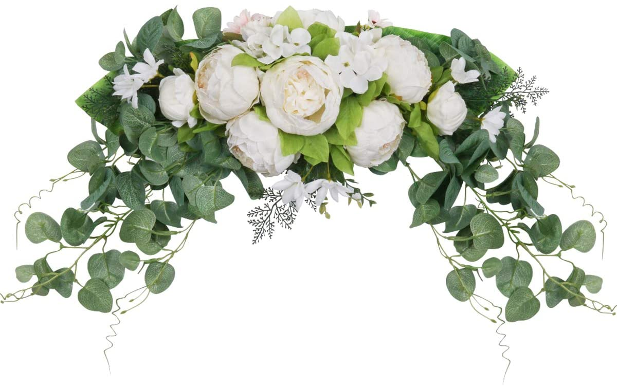 SHACOS Artificial Peony Flower Swag Floral Swag Door Swag Wreath Twig for Home Wedding Wall Door Decoration (White)