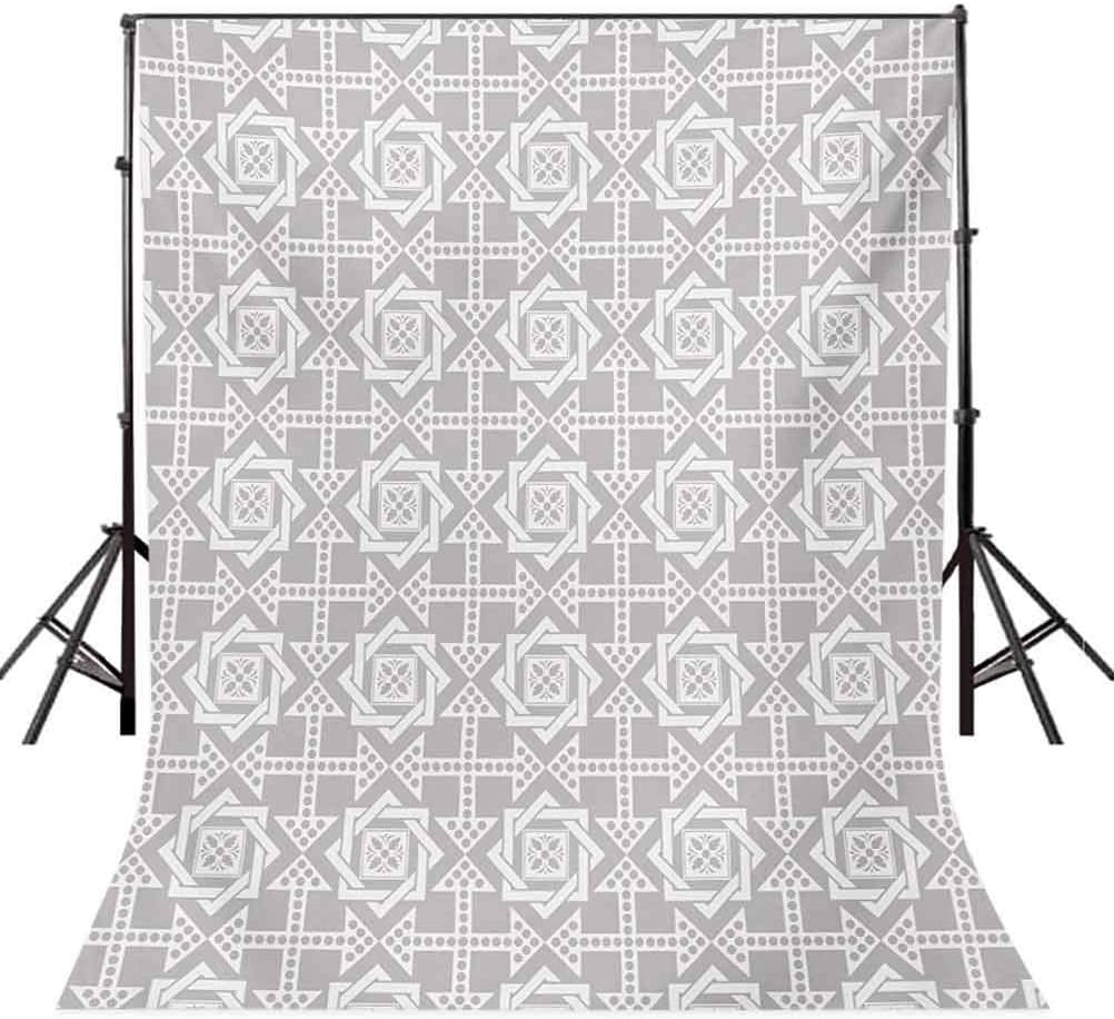 Geometric 10x12 FT Photography Backdrop Abstract Repeating Pattern with Floral Squares Frames and Dotted Cross Arrows Background for Party Home Decor Outdoorsy Theme Vinyl Shoot Props Silver White