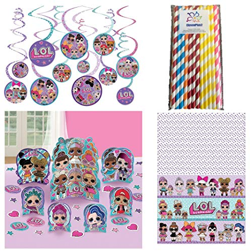 LOL Surprise Doll Party Decorating Kit - Includes Table Centerpiece, Hanging Swirls, Tablecloth and ElevenPlus2 Straw]()