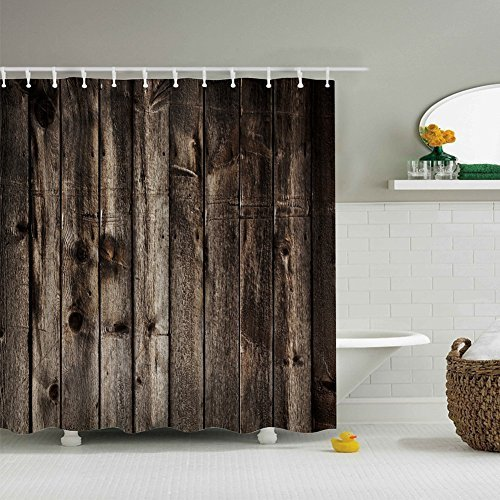 Jenave Home Decor Collection,Creative Digital Printing Shower Curtain,Polyester Fabric Bathroom Shower Curtain Set with Hooks, 72-Inch By 72-Inch Barn door