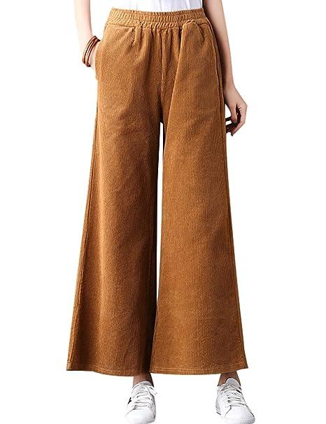 7a0baa5997 Youlee Mujeres Invierno Cintura Alta Pantalones Anchos Pantalones de Pana  Coffee  Amazon.es  Ropa y accesorios