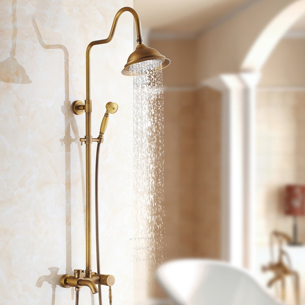 D Shower set The harvest season- Antique Shower Suits Faucet Bathroom Wall-mounted, Can Lift Up And Down (color    a)