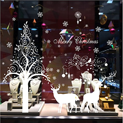 White Reindeer Snowflake Christmas Tree Wall Sticker Home Decor Decal for Glasses Shops Window
