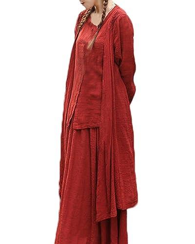 ZANZEA Women's Cotton Linen Long Sleeve Fake 2PCS Button Tops+Skirt Maxi Dress