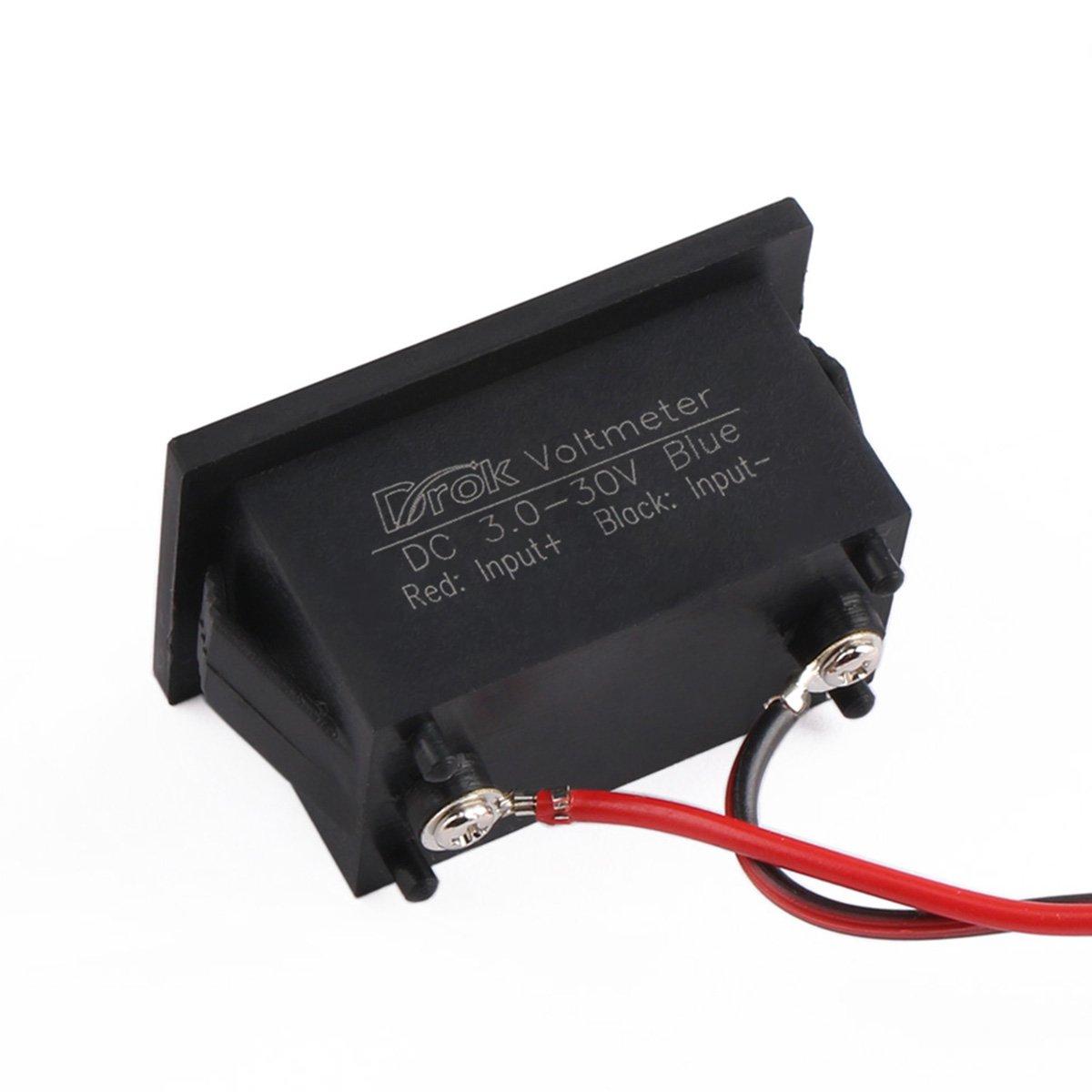 Drok Waterproof Led Digital Voltmeter 040 Dc 3 30v Display Besides Circuit Voltage Meter Gauge Panel 12v 24v Volt Tester Power Monitor With 2 Wires Blue