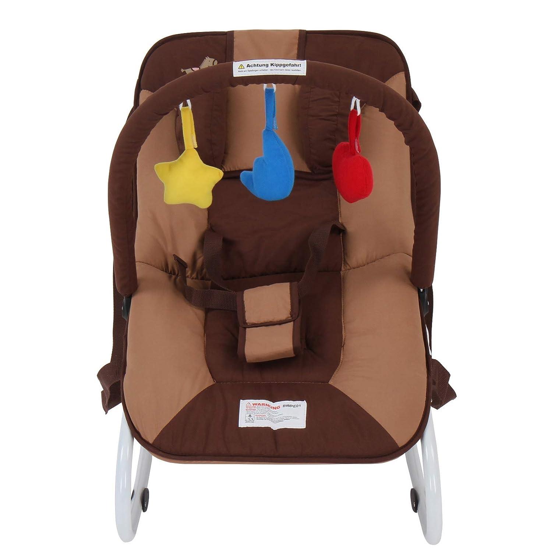 Babytrage inkl stabilem Metallrohr-Gestell 3 Spielzeuge mit 3-Punkt-Sicherheitssystem Spielbogen Babywippe Schaukelwippe Babyschaukel Schaukelfunktion Designwahl