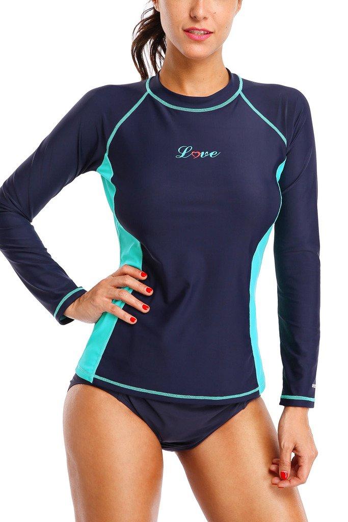ALove Womens Rash Guard Shirts Long Sleeve UV Swim Shirt Rashguard Top Navy Medium by ALove (Image #5)
