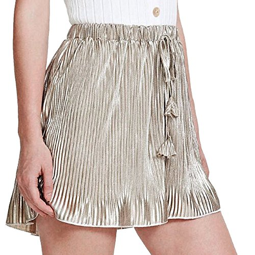 FarJing Big Promotion Women Sexy Pleated Pants Summer Casual Shorts High Waist Short Pants(XL,Gold