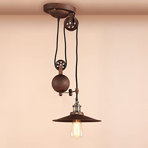 Pathson Industrial Vintage Loft Bar Rise and Fall Pendant Light Fittings, Adjustable Metal Ceiling Lamp Chandelier (Imitation Rust)