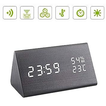 Hansemay Reloj de Alarma Digital de Madera, LED Reloj de Mesa Digital de Madera Moderno para Habitaciones Oficina Inicio (Negro): Amazon.es: Hogar