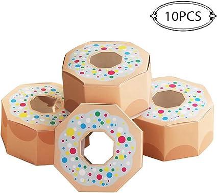 10 cajas de papel para dulces de fiesta de donas para baby shower, cajas de regalo, decoración de fiesta de cumpleaños con temática de donut, CHA, talla única: Amazon.es: Oficina y papelería