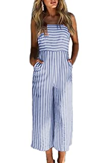 06b8abcca91 Alelly Women s Summer Jumpsuits Striped Tie Back Sleeveless Backless Wide  Long Pants Rompers Pink