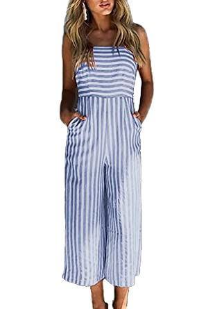 Alelly Women s Summer Jumpsuits Striped Tie Back Sleeveless Backless Wide  Long Pants Rompers Blue 9cd4d77b3099