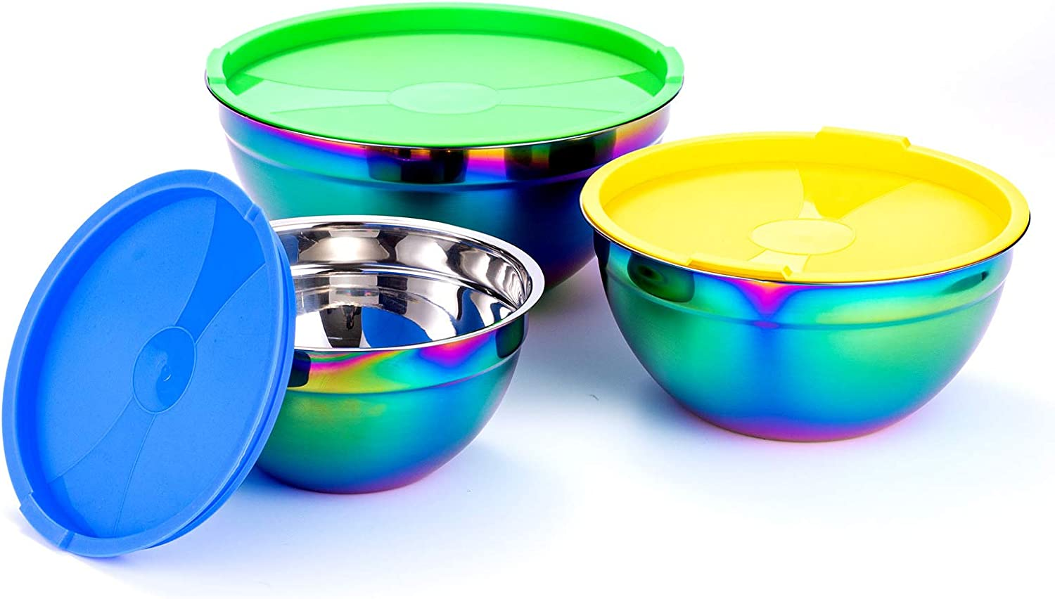 ROYDOM Mixing Bowl Set with Lid, Stainless Steel Salad Bowls 3 Piece Rainbow Nesting Bowl for Prep Cooking, Baking, Kitchen Food Preparation, Fruit Cake Serving Storage Colorful Bowls 2.11 3.6 5.5 Qt