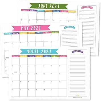 2022 Desktop Calendar.Amazon Com Colorful 2021 2022 Desk Calendar Large Monthly Wall Planner 18 Month Academic Desktop Calendar Or Fridge Planning Blotter Pad Pink Blue Notes Section For Teacher Family Or Business Office 11x17