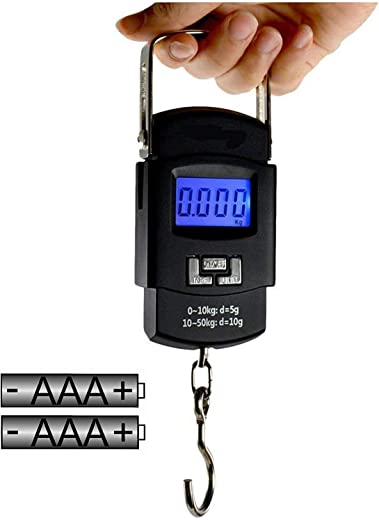 GLUN Bolt Electronic Portable Fishing Hook Type Digital LED Screen Luggage Weighing Scale, 50 kg/110 Lb (Black)
