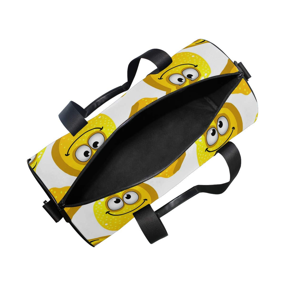 WIHVE Gym Duffel Bag Cartoon Yellow Lemons Smiling With Googly Eyes Sports Lightweight Canvas Travel Luggage Bag