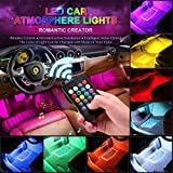 CARANTEE Car LED Strip Light - Multicolor Music Car Interior Lights, 4pcs 48 LEDs 8 Colors with Sound Active Function UnderDash Lighting kits, Wireless Remote Control(DC 12V)