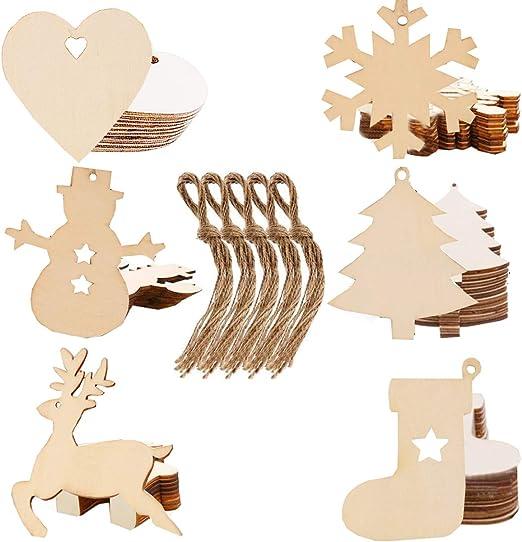 Liuer 60pcs Weihnachtsanhänger Tannenschmuck Basteln Weihnachten Diy Weihnachtsdekoration Holz Scrapbooking Holz Natur Holzscheiben Handwerk
