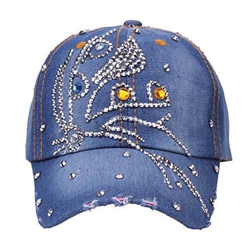 (Deer Mum Women Denim Jean Bling Cross Baseball Cap (New Blue 4))