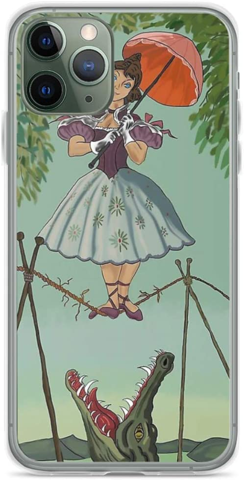Phone Case Haunted Mansion Tightrope Girl Compatible with iPhone 6 6s 7 8 X XS XR 11 Pro Max SE 2020 Samsung Galaxy Absorption Accessories Scratch