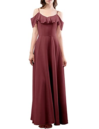 DRESSTELLS Long Bridesmaid Dress Spaghetti Straps Flouncing Chiffon A Line Prom Dresses Burgundy Size 6