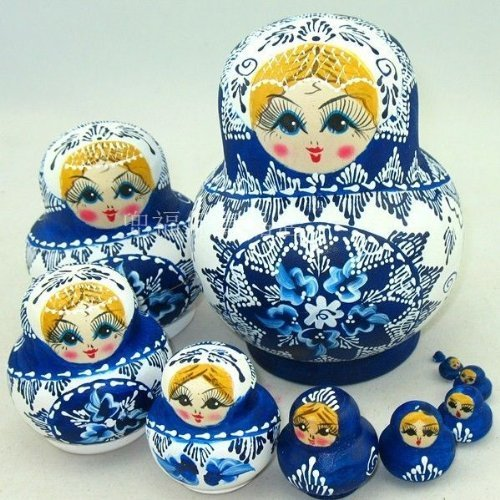 NuoYa001 Limited Edition Popular Set of 10pc Russian Nesting Dolls Russian Matryoshka Russian dolls by NuoYa