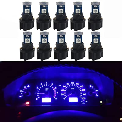 WLJH 10 Pack Blue Canbus T5 Led Bulb 2721 37 74 Wedge Lamp PC74 Twist Sockets Dash Dashboard Lights Instrument Panel Cluster Leds Replacement: Automotive