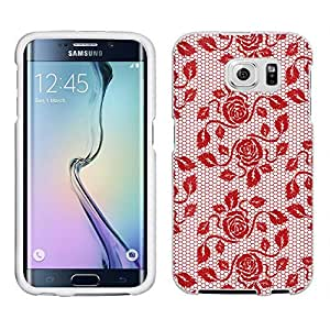 Samsung Galaxy S6 Case, Snap On Cover by Trek Delicate Rose Garden Lace Hot Red on White Case