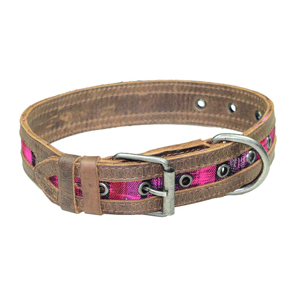 Hide & Drink Rustic Mayan Dog Collar Handmade Tropical Fuchsia by Hide & Drink