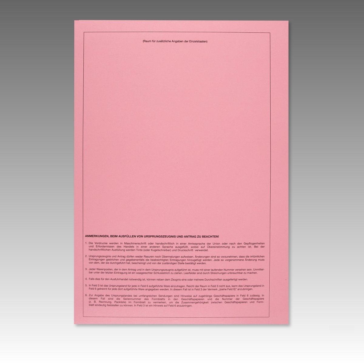 50 x Ursprungszeugnis Formular Vordruck für Laserdrucker 821521 ...