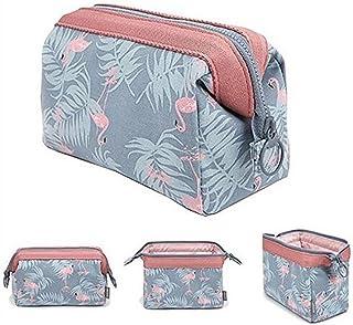 Multifonction Voyage Portable Trousse tukis portes Grande Capacité Laver Sac de rangement maquillage Sac organiseur de poche avec fermeture éclair Light Blue Flamingo