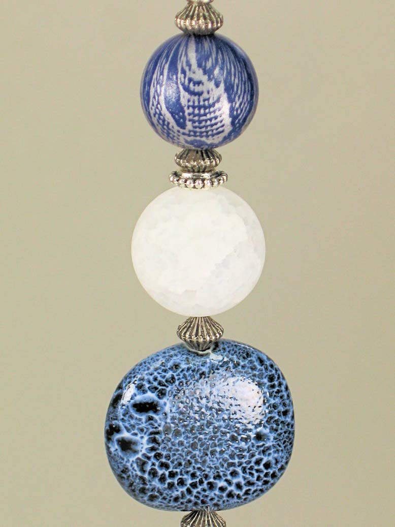 Silver and Navy Snake Skin Pattern and Porcelain White Glass Ceiling Fan Pull Chain.