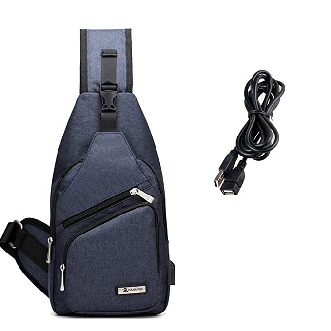 Sling Bag with USB Charging Port Crossbody Canvas Chest Bag for Men Women Hiking Backpack (