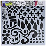 CRAFTERS WORKSHOP TCW593 Template, 12'' x 12'', Doodled Pattern, White