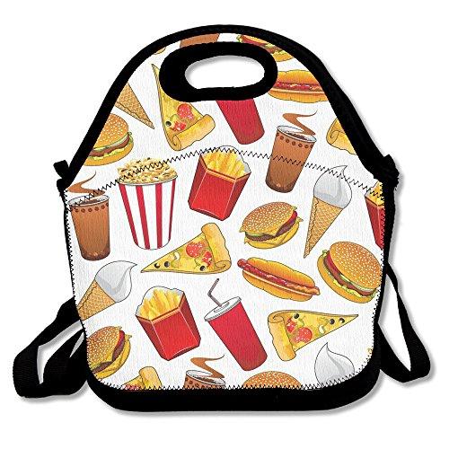 BEST4UZ Junk food pizza Hotdog Hamburg lunch box borsa pranzo borsa porta pranzo con cinghia regolabile per bambini e adulti per scuola ufficio picnic Travel Outdoor scuola