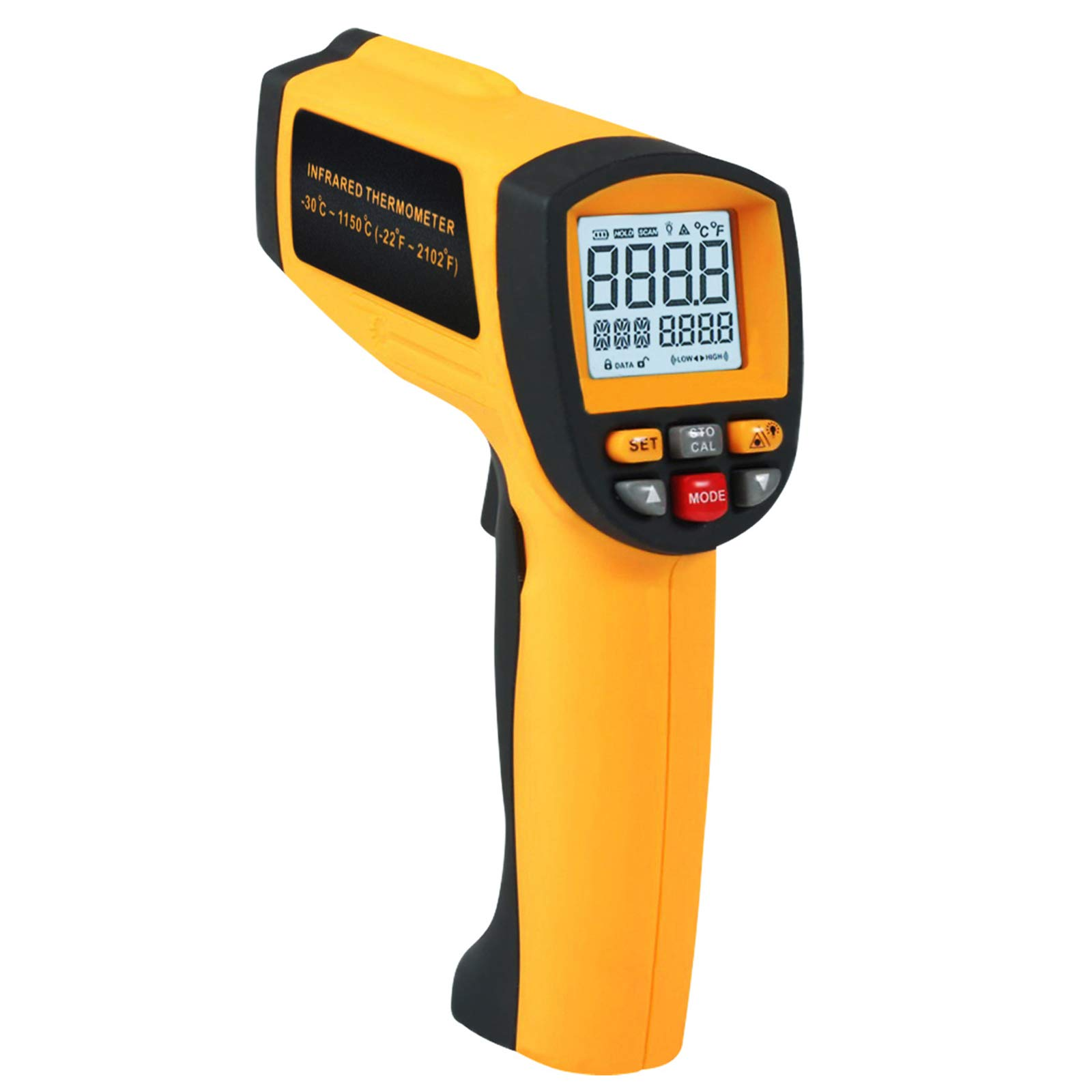 50:1 Non-contract IR Infrared Laser Thermometer -30~1150°C/ -22~2102°F 0.1~1EM Pyrometer, Digital Professional Instant Read Hand Held Laser IR Temp Meter for Cooking/Automotive/ Industrial/Lab