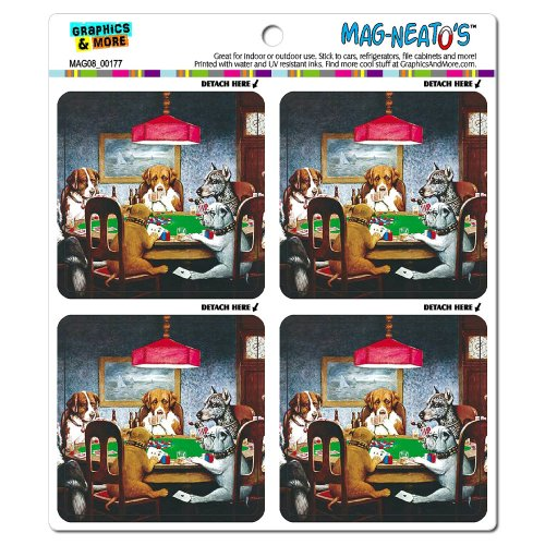 Graphics and More Dogs Playing Poker Funny Mag-Neato's Automotive Car Refrigerator Locker (Magnetic Poker)