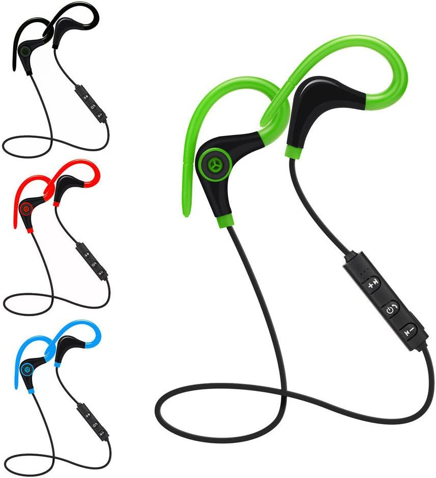 Wireless Bluetooth In-Ear Earphones Headset Stereo Headphone Earphone Handfree (With Sweatproof EarHook) for Running, Cycling, Gym, Travelling and More Black