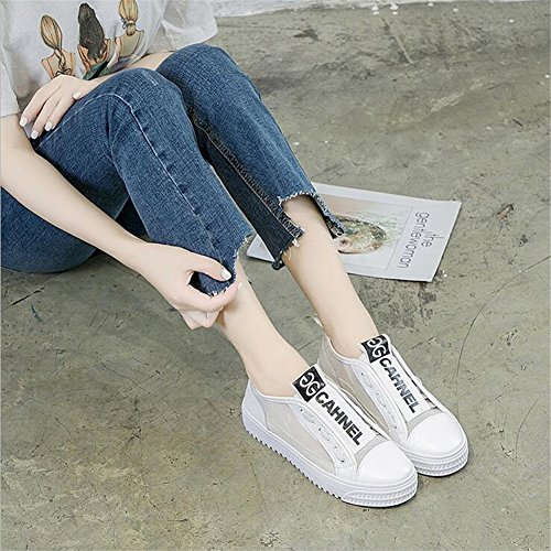 Mujer Plano con PU Mujer Lona de de Talón de de de Confort Cordones de Transpirable Primavera Poliuretano Zapatos Segundo con Zapatos Malla Cordones qH6TW5nz5