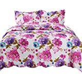 YESHOME Printed Quilt Set Flower Decorative Bedspread Coverlet - King, Full/Queen Size-Flower Story(Full)