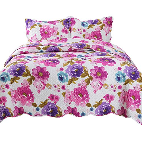 YESHOME Printed Quilt Set Flower Decorative Bedspread Coverlet - King, Full/Queen Size-Flower Story(King)