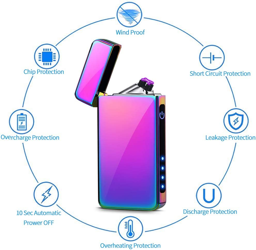 Candle Lighter Flameless Touch Sensor Dual Arc Windproof Lighter with Power Indicator and USB Cable in Gift Box Packaging KIMILAR Electric Lighter USB Rechargeable