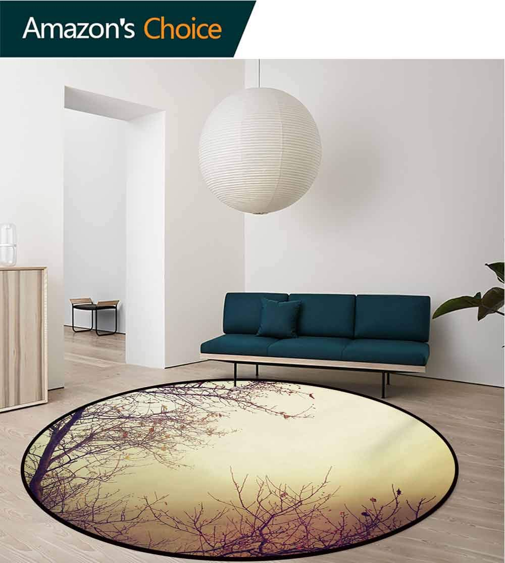 RUGSMAT Nature Anti-Skid Area Rug,Vintage Leafless Autumn Tree Branches Background in Saturated Tones Ecology Art Picture Green Soft Area Rugs,Round-55 Inch Sepia