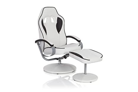hjh OFFICE Gamer Pro WH 110 Silla reposapiés/de relajación Piel sintética, Blanco/