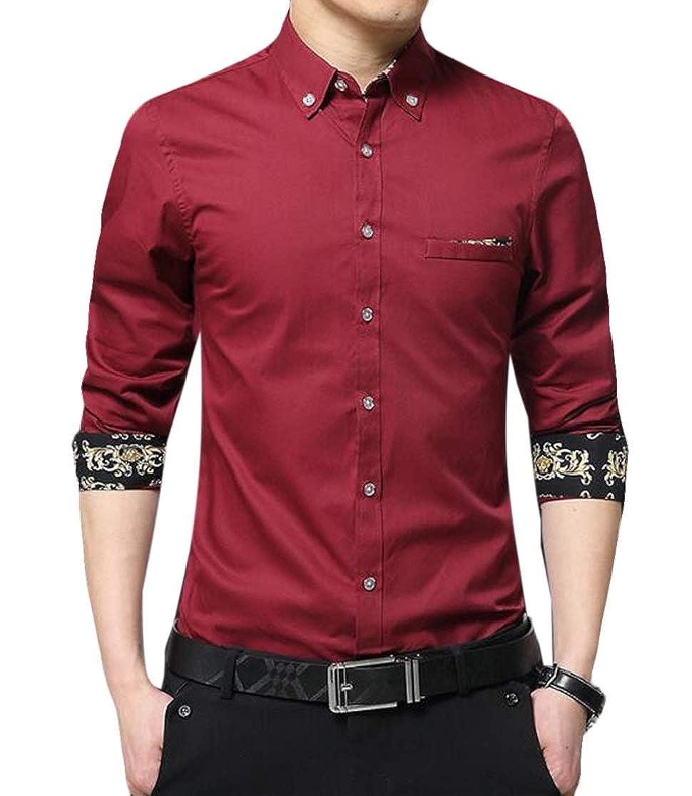 Domple Men Lightweight Cotton Casual Skinny Printed Long Sleeve Dress Work Shirt