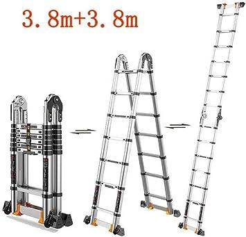 ZfgG - Escalera de aluminio antideslizante, hecha de aluminio ligero, resistente, portátil, con pies antideslizantes: Amazon.es: Bricolaje y herramientas