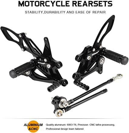 NICECNC Gold Motorcycle Racing Fully Adjustable Rearset Footrests Foot Pegs Rear Set Replace CBR600RR 2003-2006 CBR1000RR Fireblade 2004-2007
